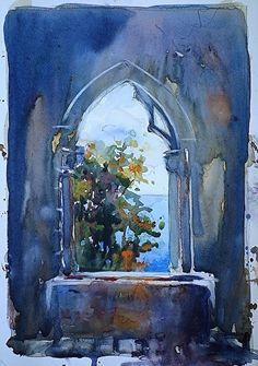 """""""The Castle Window"""" ~ by Sarah Yeoman (watercolor ~ 10 x 8)"""