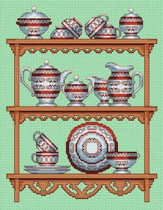 downloaded. Dish Cupboard. This pattern is from a site that has really easy to download embroidery patterns for free. It's http://cross-stitchers-club.com/?code_avantage=uucqid. Plus, if you click on this link, you'll automatically receive a gift when you subscribe. I use this site all the time; there are hundreds of all different types of patterns, and there are new patterns added everyday. It's really worth a look.