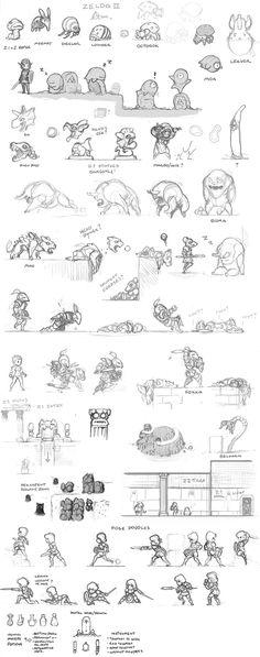 zelda 2 2011 B. Game Character Design, Character Design Inspiration, Character Concept, Character Art, Concept Art, Doodle Characters, Android Art, 2d Game Art, Cartoon Sketches