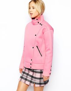 ASOS Jacket with Popper Front and Funnel Neck