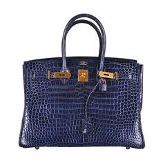 a950d6f99621b HERMES BIRKIN BAG 35cm BLUE ABYSSE CROCODILE GOLD HARDWARE