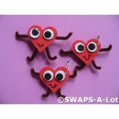 Girl Scout Swaps - Valentines. Fun foam, google eyes, pipe cleaners (change the foam shape to suit any holiday)