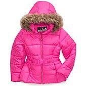 Protection System Kids Coat, Girls Faux-Fur-Trim Belted Bubble Jacket
