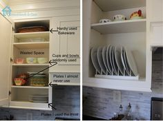 Diy Inside Cabinet Plate Rack Kitchen Cupboard