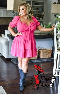 Sexy Dresses, Hot Pink Dresses, Pink Outfits, Casual Dresses, Dresses With Sleeves, Curvy Women Fashion, Plus Size Fashion, Curvy Girl Lingerie, Sexy Older Women