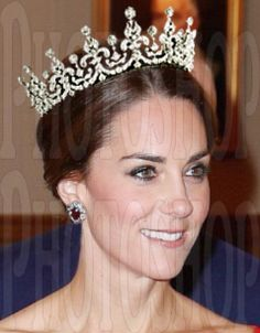 The Duchess of Cambridge in The Girls of Great Britain and Ireland tiara, without the base.