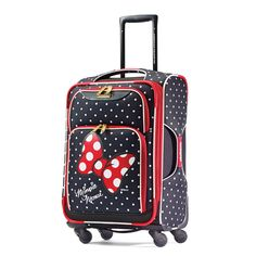 • Single spinner wheels. • Beveled push button locking retractable pull handle. • Integrated top & side American Tourister branded carry handles. • American Tourister branded zipper pulls and ID tags.