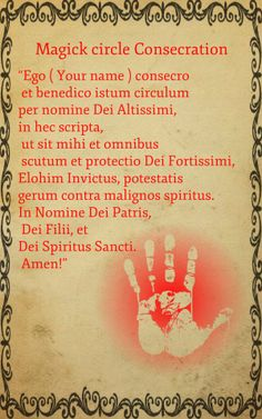 Incantation in Latin, for consecration and blessing of the Magick circle. Enjoy ! Shadow