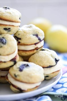 Filled with a lemon cream cheese filling and bursting with lemon zest and fresh blueberries, these Blueberry Lemon Whoopie Pies are a delicious dessert. #lemon #blueberry #whoopiepies #recipe Lemon Dessert Recipes, Blueberry Recipes, Lemon Recipes, Pie Recipes, Cookie Recipes, Cookie Ideas, Sweets Recipes, Easter Recipes, Brunch Recipes