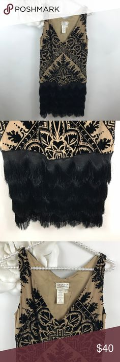 Max studio Cream Black Silk Velvet Fringe Dress Max Studio Specialty Products brand Size small Great condition Black fringe along the bottom Cream with black velvet design Pull on style- no zipper Lined  Measurements when flat: Armpit to armpit: 17'' length: 36''  - No trades -Bundle and save 20% Max Studio Dresses Mini