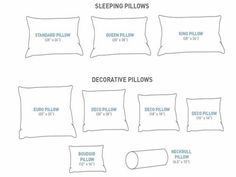 Standard size pillow dimensions, Queen size pillow dimensions, king size pillow dimensions #homedecor #PillowOnBed