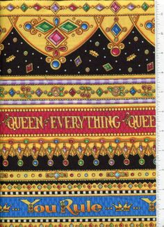 mary-engelbreit-ROYAL-BORDER-fabric-ITS-GOOD-TO-BE-QUEEN-YOU-RULE