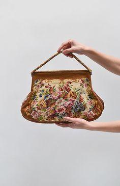 Ancestral Florals Bag / vintage floral purse / vintage needlepoint bag
