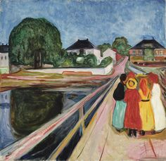 https://flic.kr/p/MK1K6p | Edvard Munch - Girls on the Bridge [1902] | The Girls on the Bridge numbers among Edvard Munch's greatest masterpieces. Painted in 1902, the same year Munch's Frieze of Life was exhibited at the Berlin Secession, the present work captures Munch's use of bold coloration, sharp perspective and sinuous line. Of his twelve oils of this subject, ten are in public collections – the present work is one of only two canvases remaining in private hands. Munch's importance…