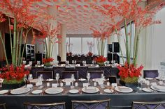 "Asian theme tablescapes inspired by ""bento boxes"" - Wedding reception at the Trump Soho hotel in downtown Manhattan."