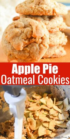 Kuchen Oma Apple Pie Oatmeal Cookies taste like a bite out of Dutch Apple Pie making this cookie recipe a fun favorite for Christmas Cookie trays from Serena Bakes Simply From Scratch. Caramel Apple Pie Cookies, Apple Pie Cookie Recipe, Apple Pie Oatmeal, Salted Caramel Apple Pie, Apple Pie Recipe Easy, Apple Crumble Pie, Homemade Apple Pie Filling, Cookie Pie, Apple Pie Recipes