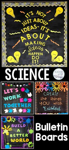 Science and STEM Bulletin Boards! Templates for four boards with great ideas for elementary science or STEM displays and projects for classroom teachers. Images are included to customize your boards by printing letters and designing your own displays. Elementary Bulletin Boards, Science Bulletin Boards, Bulletin Board Design, Teacher Bulletin Boards, Elementary Art Rooms, Classroom Bulletin Boards, Classroom Door, Science Boards, Elementary Science Classroom