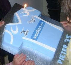 Blue bulls' rugby jersey cake Fondant Cakes, Cupcake Cakes, Cupcakes, Rugby Cake, Birthday Cakes, Birthday Parties, Bulls Shirt, Party Themes, Party Ideas
