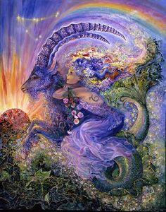 Capricorn Greeting Card (December 22 - January by Josephine Wall Josephine Wall, Zodiac Art, Zodiac Signs, Art Expo, Capricorn And Aquarius, Capricorn Season, Oeuvre D'art, Constellations, Fantasy Art