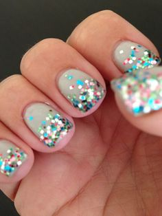 multicolor glitter nails