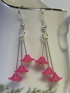 Hot Pink Lucite Flower Earrings by mizufusion on Etsy, $6.00