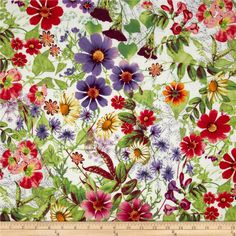 Michael Miller Spring Fling Verity Floral Green from @fabricdotcom  Designed for Michael Miller Fabrics, this fabric is perfect for quilting, apparel and home décor accents.  Colors include purple, green, red, pink, white and gold.
