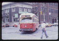 TTC Toronto original rail slide PCC # 4308 at King-Bathurst 1979