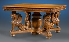 This R.J. Horner dining suite features exceptional carving throughout