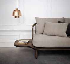 Copper, smoked oak & linen - I'm sold ✔️ The 'FLY' sofa by Space Copenhagen with its references to the mid century era sits well beside the 'UTZON' pendant designed by Sydney Opera House Architect Jørn Utzon // image via Diy Pendant Light, Pendant Lighting, Pendant Lamps, Pendants, Berlin Design, Space Copenhagen, Suspension Design, Danish Furniture, Furniture Design