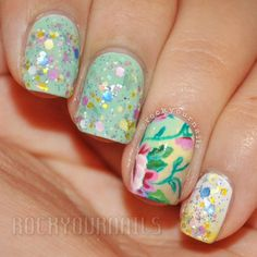 Pastel Glitter floral what more can you think of for cute nail art ideas!?!