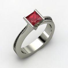 Princess Ruby Palladium Ring with Black Diamond