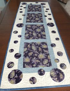 Patchwork and applique quilted table runner in by StephsQuilts
