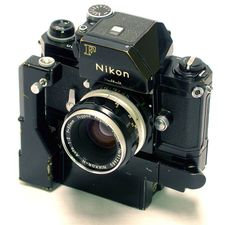 I'm obsessed with the thoughts of owning an old Nikon like this black F Photomic FTN model with motor drive from 1970.