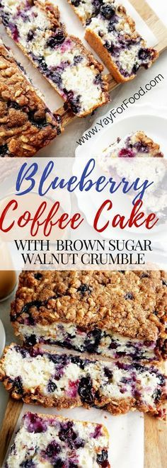 Try this delightful coffee cake loaded with fresh blueberries and topped with a crunchy and sweet walnut and brown sugar crumb topping! #Desserts | #Breakfast | #Snack | #Sweets | #Cake | #CoffeeCake | #AfternoonTea | #Vegetarian | #Blueberries | #Walnuts