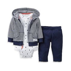 Get ready for your little one to set sail with this adorable hooded pant set from Carter's. This set has everything your baby needs for an easy outfit including a zip-front cardigan, a bodysuit and a pant.