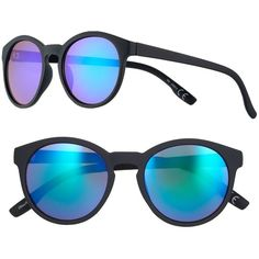Women's SO® Rainbow Lens Round Sunglasses ($9.99) ❤ liked on Polyvore featuring accessories, eyewear, sunglasses, black pink flash, american sunglasses, colorful glasses, colorful sunglasses, round frame sunglasses and american eyewear