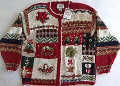 Tiara International Christmas Cardigan Sweater Top Handknit Womens Sz 26/28 NWT #TiaraInternational #Cardigan