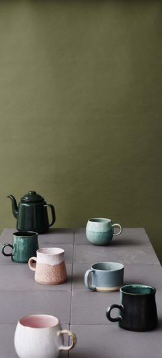 The glaze used add gentle tones of blue and teal for a dip-dyed look that's unique to each mug.