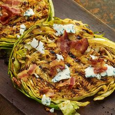 Soak it all in With zesty marinated grilled cabbage steaks Grill Mates Smoky Applewood Marinade Mix adds bold flavor to this veggie main or side dish Beef up hearty cabbage slices with crispy crumbled bacon blue cheese and green onion toppers Tasty Grilling Recipes, Vegetable Recipes, Cooking Recipes, Healthy Recipes, Grilled Cabbage Steaks, Grilled Cabbage Recipes, Grilled Cabbage Wedges, Grilled Steaks, Braised Cabbage
