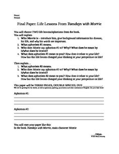 tuesdays with morrie essay assignment The tuesdays with morrie is one of the most popular assignments among students' documents if you are stuck with writing or missing ideas, scroll down and find inspiration in the best samples.