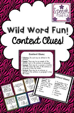 Speech Time Fun: Wild Word Fun Context Clues Card Game, Visual Aid, & Review Worksheet!