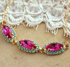 Trendy 14k Yellow #Gold Filled Eye Bib Pendant #Necklace With Swarovski Crystal #Bib