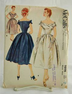 50s Vintage Dress Pattern McCalls 9898 Bust 34 by sewonthebutton