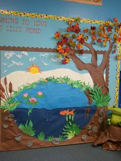 New Ideas For Science Bulletin Boards Preschool Classroom Science Bulletin Boards, Classroom Bulletin Boards, Classroom Door, Classroom Displays, Preschool Classroom, Classroom Themes, November Bulletin Boards, Bulletin Board Tree, Pond Habitat