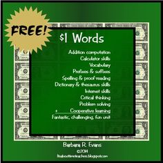 You'll get a lot of bang for your buck when you snag this FREEBIE.  Math, yes, but also vocabulary development, study skills, editing, team work, HOTS, ...