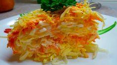 Французский слоеный салат. Ошпареный лук, 1яблоко, 2яйца, 1морковь, сыр. Слои повторить, смазать майонезам.