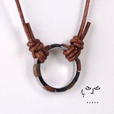 VujuWear Stainless Steel/Wood Ring Pendant Men's Leather Necklace, $29.99…