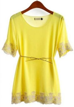 Yellow Short Sleeve Embroidery Chiffon Blouse pictures