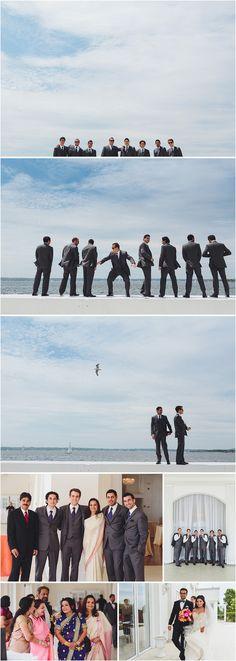 Fun Pictures on the Sea Wall! - Roberto Farren Photography #juneweddings #newportweddings #oceanfront