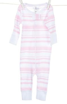 Little Giraffe Long Sleeve Stripe Romper (Baby Girls) available at #Nordstrom